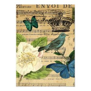vintage crown bird Music Notes french botanical Invitation starting at 2.77