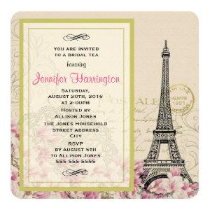Vintage Eiffel Tower with Pink Flowers Bridal Tea Invitation starting at 3.30