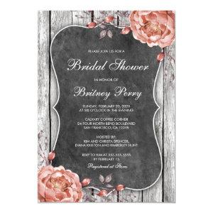 Vintage Floral Chalkboard Peonies Bridal Shower Invitation starting at 2.65