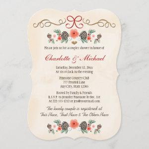 Vintage Floral Pinecone Christmas Couples Shower Invitation starting at 2.91