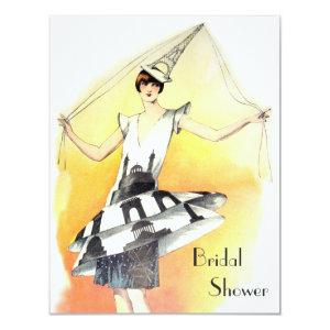 Vintage Girl in Eiffel Tower Costume Bridal Shower Invitation starting at 2.31