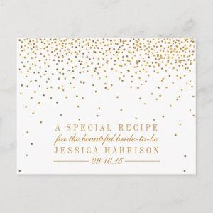 Vintage Gold Confetti Bridal Shower Recipe Cards starting at 1.70