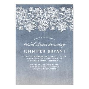Vintage Lace Dusty Blue Bridal Shower Invitation starting at 2.15
