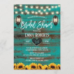 Vintage Lantern Sunflower Teal Wood Bridal Shower Invitation starting at 2.40