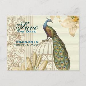 Vintage lily floral peacock wedding save the date announcement postcard starting at 2.02