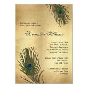 Vintage Look Peacock Feathers Bridal Shower Invitation starting at 2.31