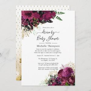 Vintage Marsala and Gold Drive By Shower Invitation starting at 2.51