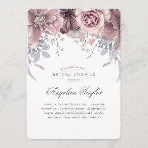 Vintage Mauve Watercolor Floral Bridal Shower Invitation starting at 2.71