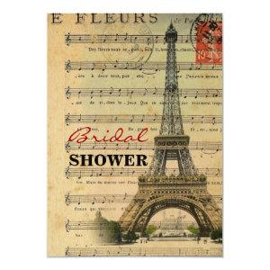 vintage music notes french paris eiffel tower invitation starting at 2.42