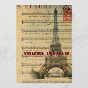 vintage music notes french paris eiffel tower starting at 2.77
