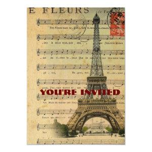 vintage music notes french paris eiffel tower invitation starting at 2.77