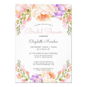 Vintage Peach Pink Purple Floral Bridal Shower Invitation starting at 2.40
