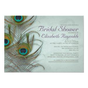Vintage Peacock Feather Bridal Shower Invitations starting at 2.66