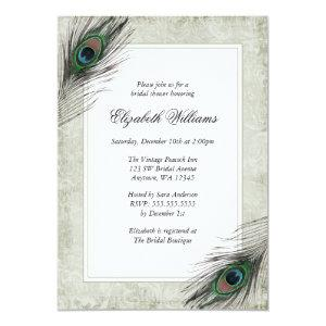 Vintage Peacock Feathers Bridal Shower Invitations starting at 2.51