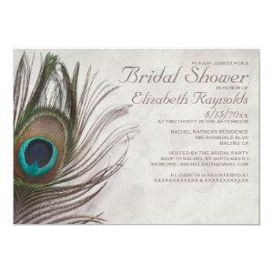 Vintage Peacock Feathers Bridal Shower Invitations starting at 2.66