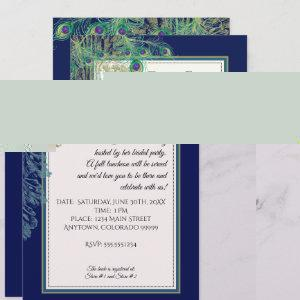 Vintage Peacock Feathers Navy Bridal Shower Invitation starting at 2.66