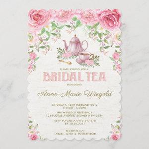 Vintage Pink Floral Bridal Shower Tea Party Invite starting at 2.81