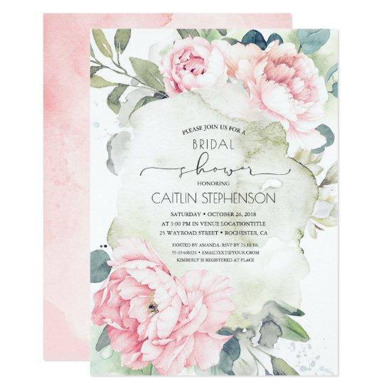 Vintage Pink Flowers and Greenery Bridal Shower Invitation