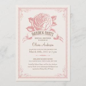 Vintage Pink Garden Party Shower Invitations starting at 2.82