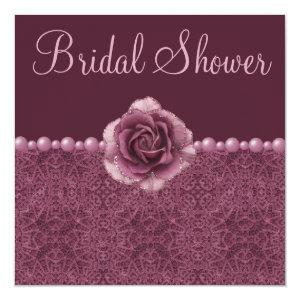Vintage Purple Bridal Shower Roses, Pearls & Lace Invitation starting at 2.51