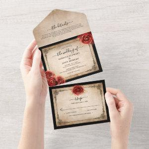 Vintage Red Rose Gold Black Parchment Wedding All In One Invitation starting at 3.45