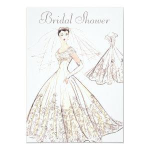 Vintage Retro 1950's Bride and Gown Bridal Shower Invitation starting at 2.66