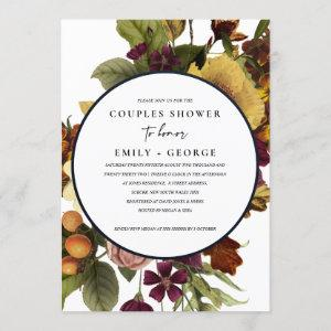 VINTAGE RETRO BURGUNDY YELLOW FLORAL COUPLE SHOWER INVITATION starting at 2.65