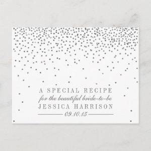Vintage Silver Confetti Bridal Shower Recipe Cards starting at 1.70