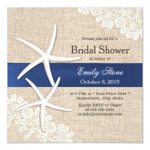 Vintage Starfish Rustic Laced Burlap Bridal Shower Invitation starting at 2.40