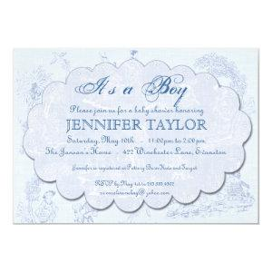 Vintage Toile Baby Shower Invitation Blue starting at 2.98