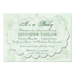 Vintage Toile Baby Shower Invitation Green starting at 2.98