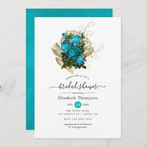 Vintage Turquoise and Gold Shabby Bridal Shower Invitation starting at 2.51