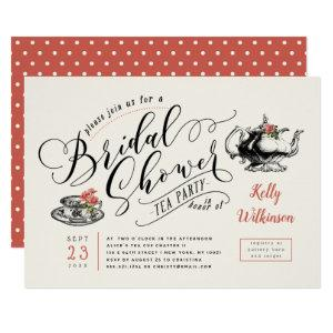 Vintage Typography | Cream Bridal Shower Tea Party Invitation starting at 2.40