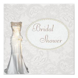 Vintage Wedding Gown Paisley Lace Bridal Shower Invitation starting at 2.51