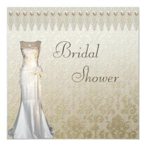Vintage Wedding Gown Pearls Lace Bridal Shower Invitation starting at 2.51