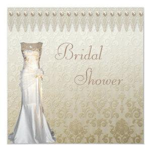 Vintage Wedding Gown Pearls & Lace Bridal Shower Invitation starting at 2.51