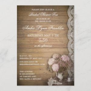 Vintage Wood and Lace Bridal Shower Tea Invitation starting at 2.51