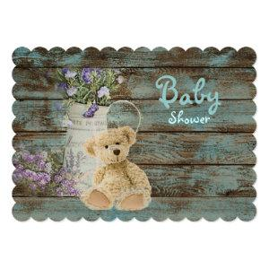 vintage wood teddy bear baby shower invitations starting at 3.02