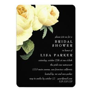 Vintage Yellow Rose Black Bridal Shower Wedding Invitation starting at 2.65