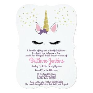 Violet the Unicorn Purple Bridal Shower Invite starting at 2.75