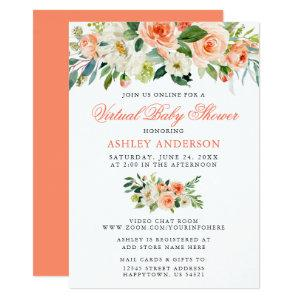 Virtual Baby Shower Watercolor Coral Floral Invitation starting at 2.51