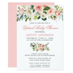 Virtual Baby Shower Watercolor Floral Pink Invitation starting at 2.51