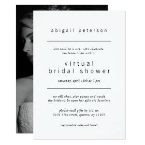 Virtual Bridal Shower Minimalist Black White Photo Invitation starting at 2.51