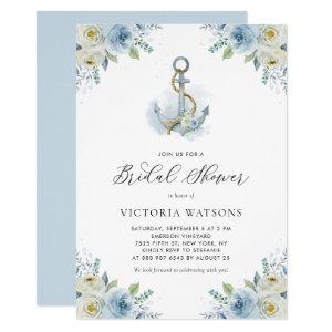 Watercolor Anchor and Blue Flowers Bridal Shower Invitation starting at 2.40
