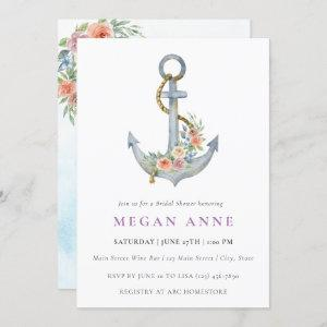 Watercolor Anchor & Flowers Wedding Shower Invite starting at 2.55