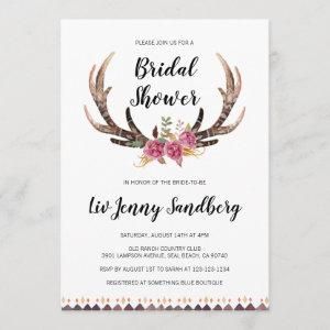 Watercolor Antlers Bohemian Country Bridal Shower Invitation starting at 2.45