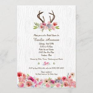 Watercolor Antlers Flowers Faux Bois Bridal Shower Invitation starting at 2.66