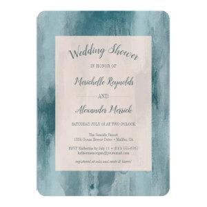 Watercolor Blue Brushstroke Couples Wedding Shower Invitation starting at 2.86