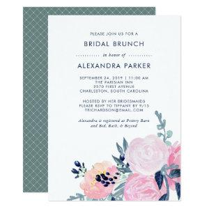 Watercolor Blush and Navy Floral Bridal Brunch Invitation starting at 2.66