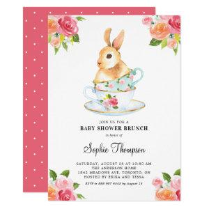 Watercolor Bunny on Teacups Baby Shower Brunch Invitation starting at 2.40